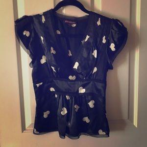 Betsey Johnson Black and cream heart blouse